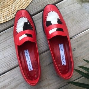 Donald J Pliner Red Leather Loafers